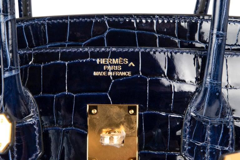 Black Hermes Birkin 35 Bag Blue Sapphire Porosus Crocodile Gold Hardware For Sale