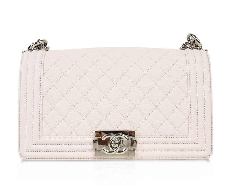 Chanel Bag White / Nude Quilted Caviar Medium 4