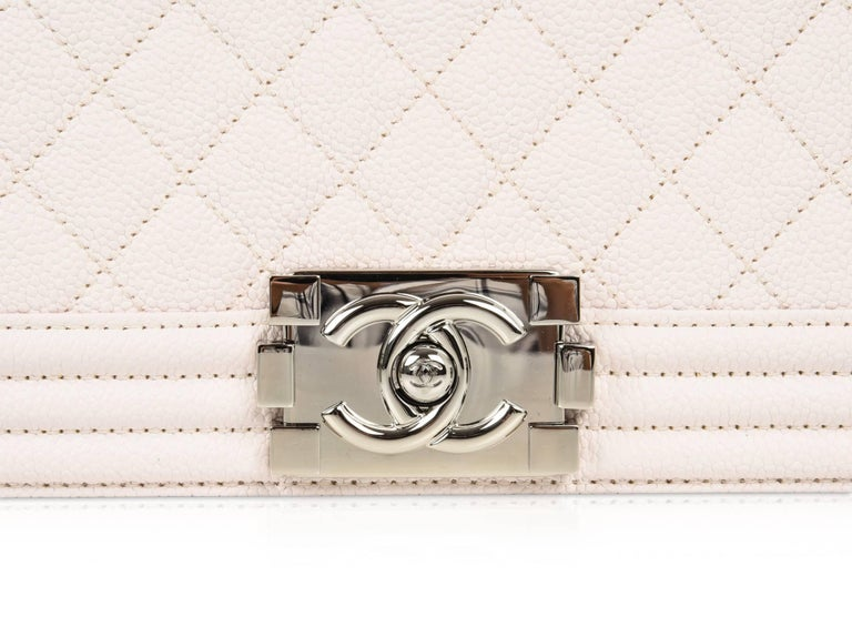 Chanel Bag White / Nude Quilted Caviar Medium In New Condition In Miami, FL