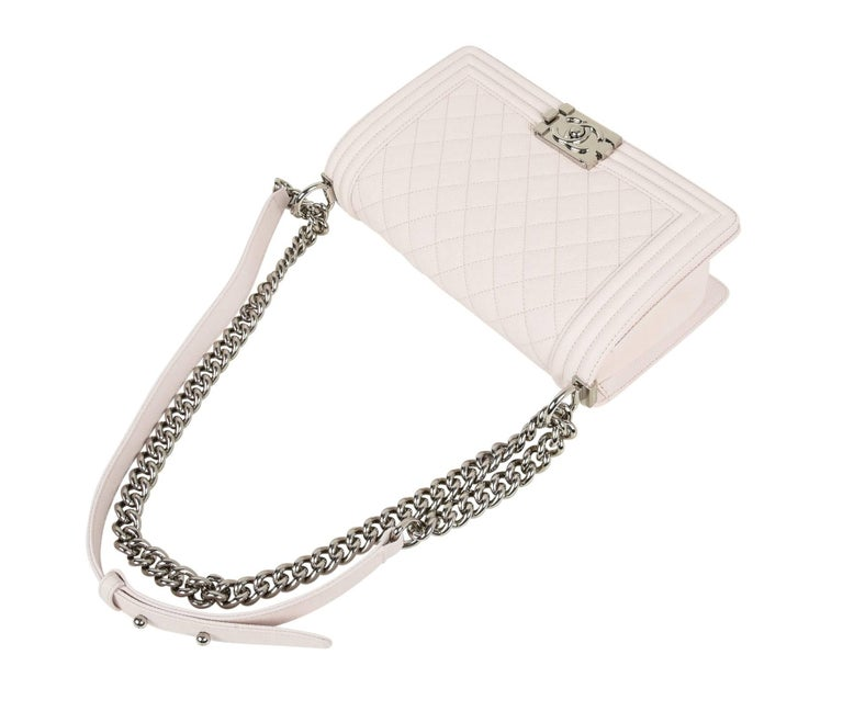 Chanel Bag White / Nude Quilted Caviar Medium 2