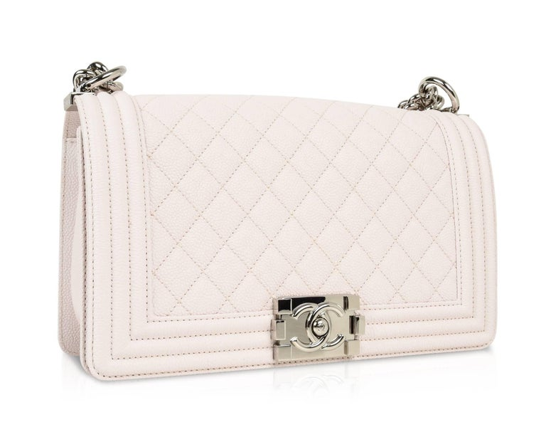 Chanel Bag White / Nude Quilted Caviar Medium 3