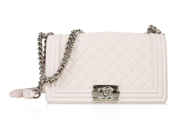 Chanel Bag White / Nude Quilted Caviar Medium 10