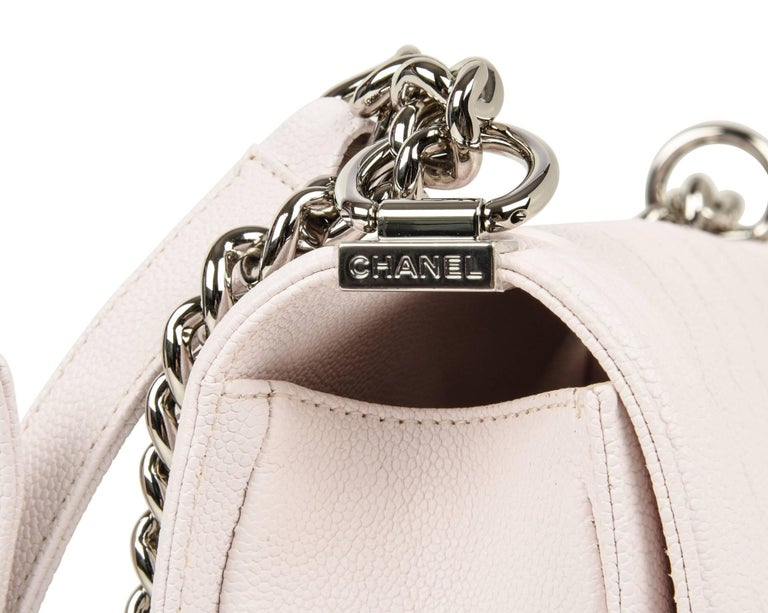 Chanel Bag White / Nude Quilted Caviar Medium 6