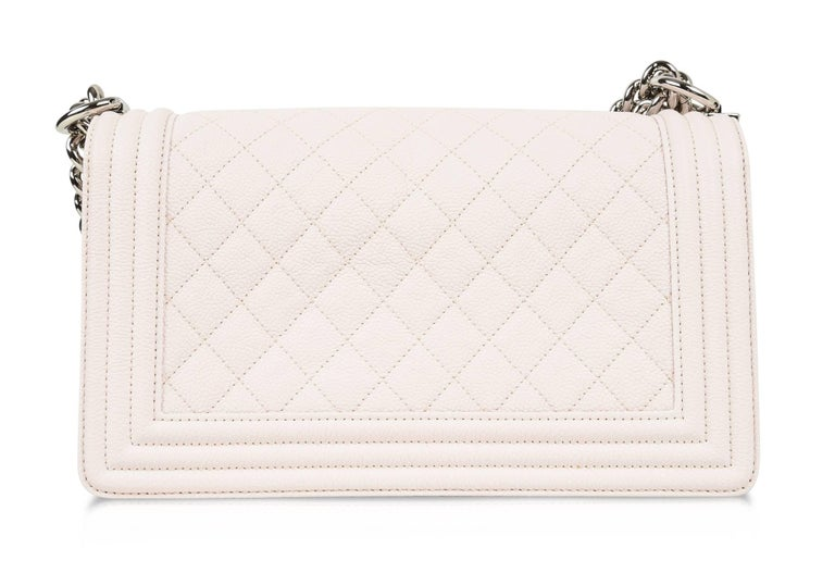 Chanel Bag White / Nude Quilted Caviar Medium 9