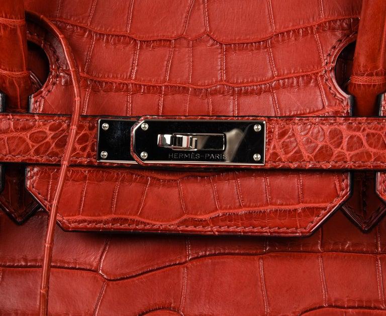 Women's Hermes Birkin 40 Bag Rouge Red Matte Porosus Crocodile Palladium For Sale