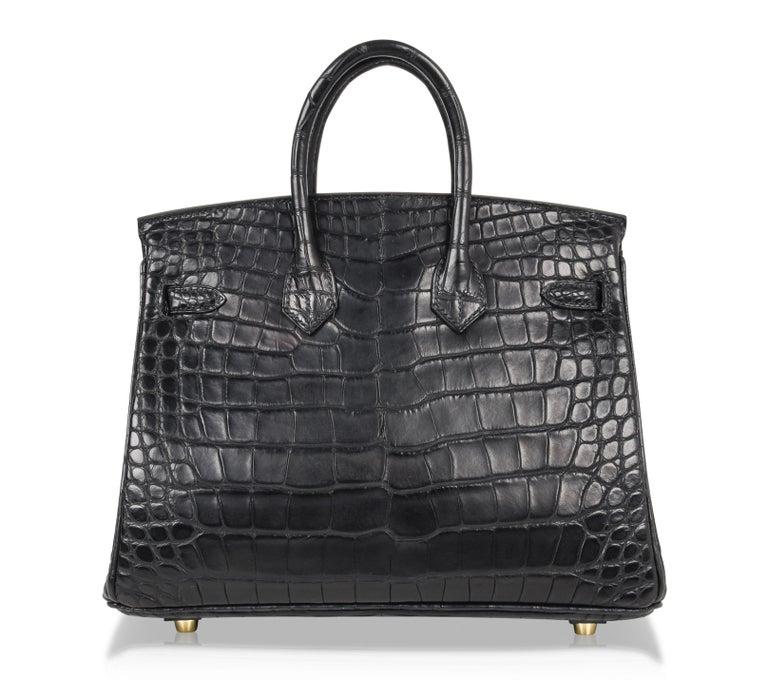 Hermes Birkin 25 Bag Matte Black Alligator Gold Hardware 8