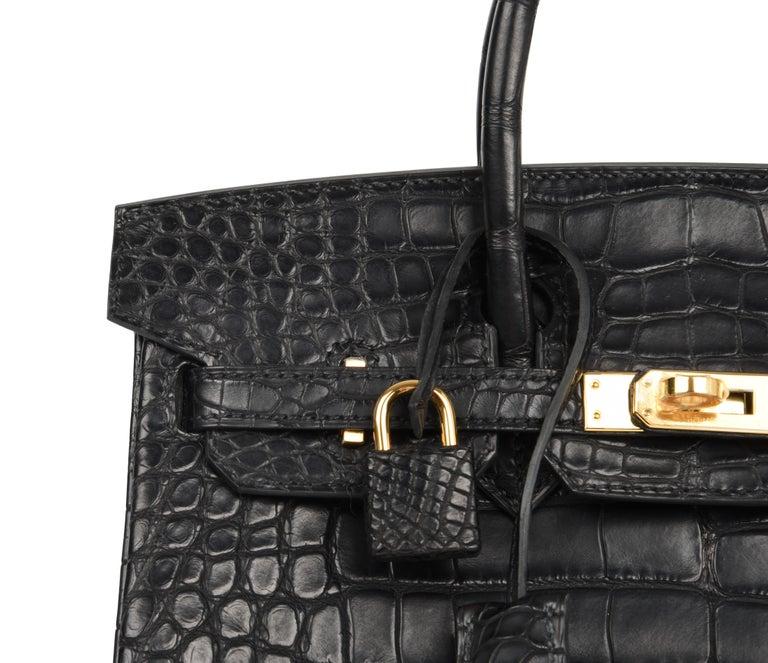 Hermes Birkin 25 Bag Matte Black Alligator Gold Hardware 9