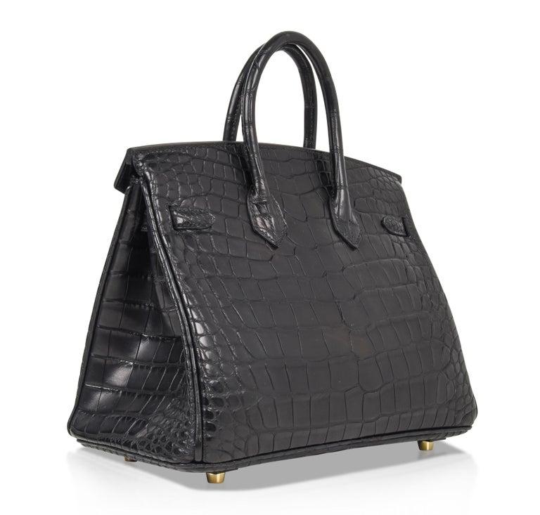 Hermes Birkin 25 Bag Matte Black Alligator Gold Hardware For 10