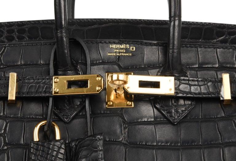 Hermes Birkin 25 Bag Matte Black Alligator Gold Hardware 7