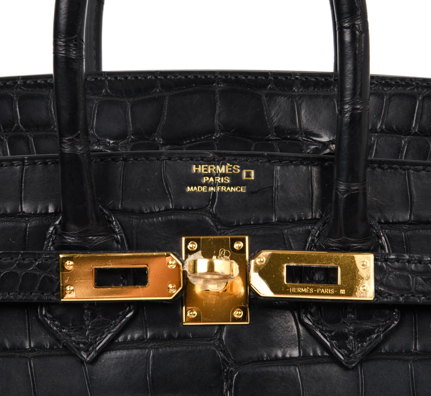 1cbc4b63fdc ... discount hermes birkin 25 bag matte black alligator gold hardware in  new condition for sale in