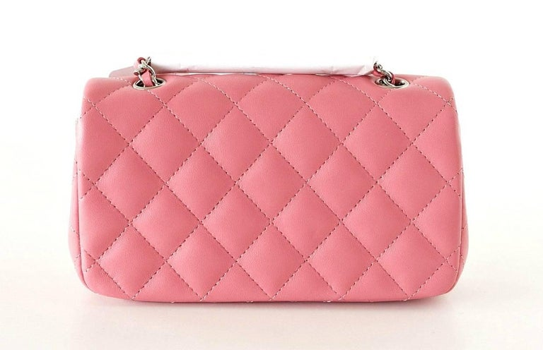 Chanel Bag Coveted Mini Flap Rectangular Rose Pink Lambskin new In New Never_worn Condition For Sale In Miami, FL