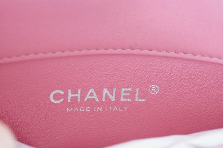 Women's Chanel Bag Coveted Mini Flap Rectangular Rose Pink Lambskin new For Sale