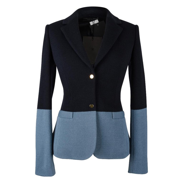 The Row Jacket Rich Navy and Slate Blue Single Breast 4  In New Condition For Sale In Miami, FL