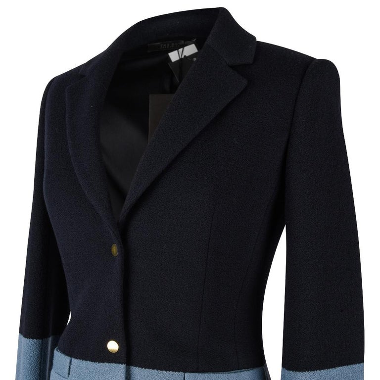 Women's The Row Jacket Rich Navy and Slate Blue Single Breast 4  For Sale