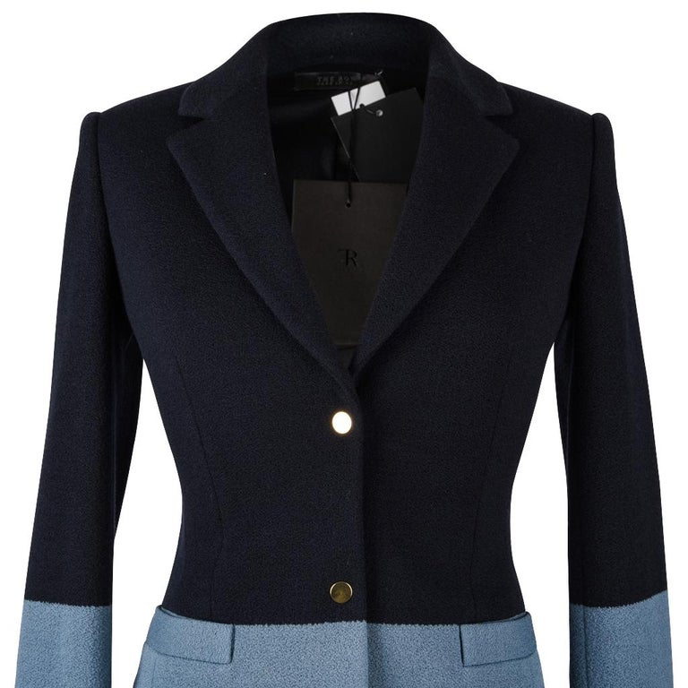 The Row Jacket Rich Navy and Slate Blue Single Breast 4  For Sale 1