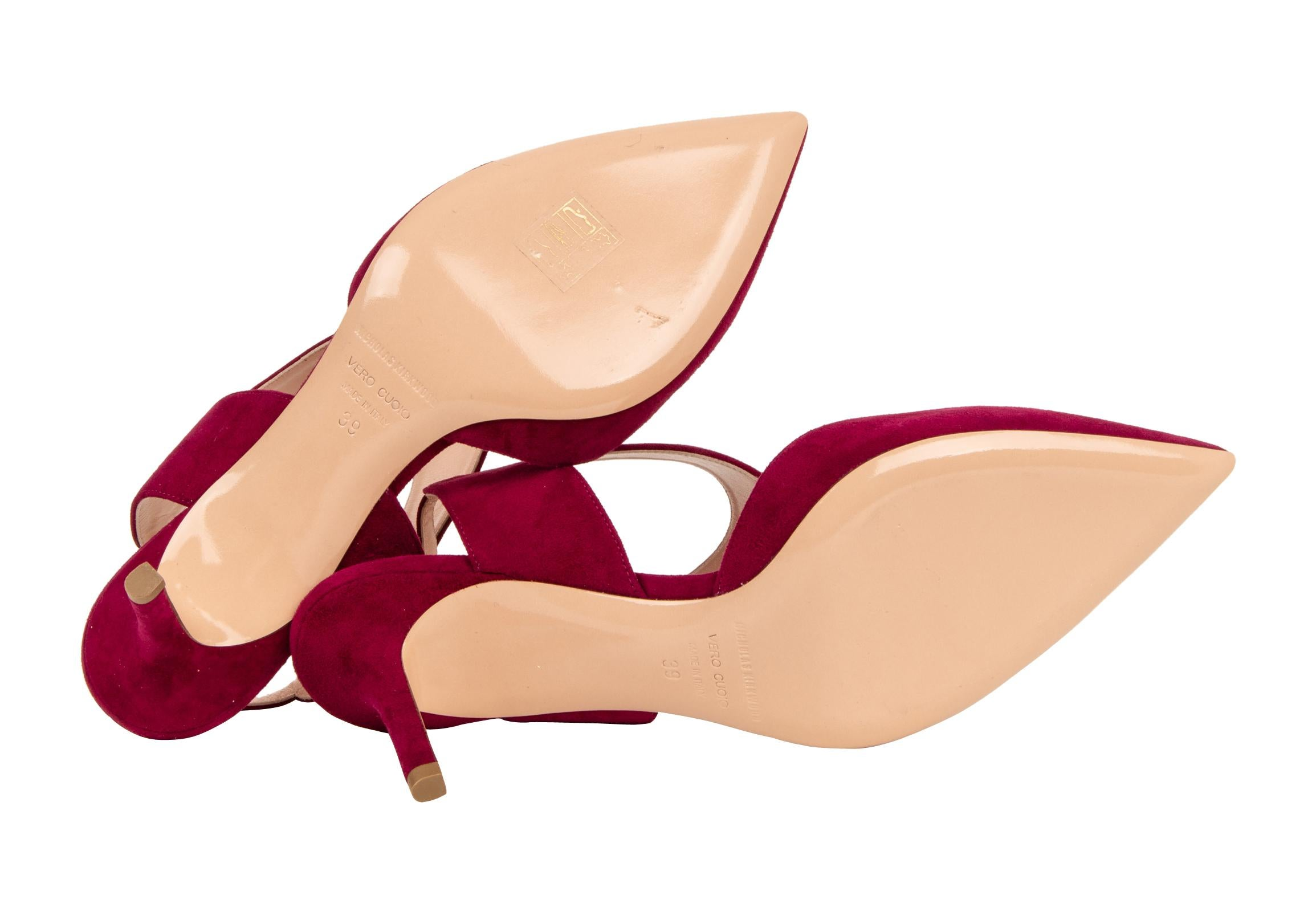 Nicholas Kirkwood Shoe Leda Suede Red Rich Claret 38 8 New W Box Clarette Sandals Crystal Brown For Sale At 1stdibs