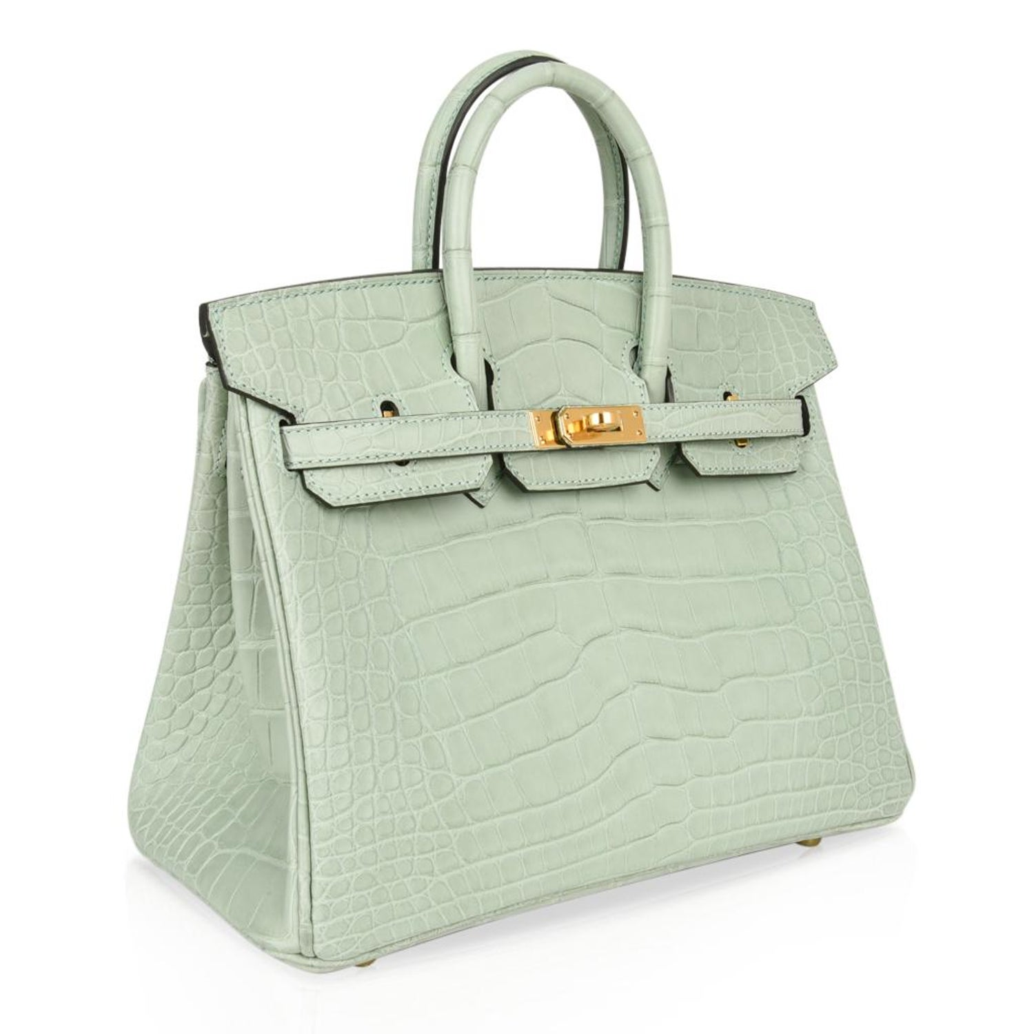 83dc55107f Hermes Birkin 25 Bag Vert D Eau Matte Alligator Gold Hardware Very Rare For  Sale at 1stdibs