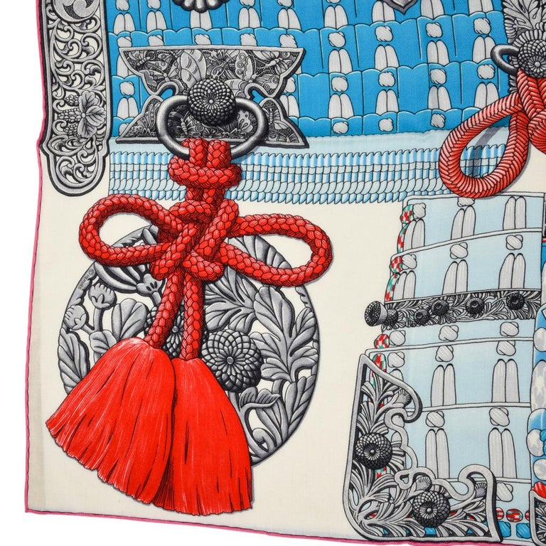 Hermes Shawl Parures de Samouraïs GM Cashmere Silk Blanc Turqouise Vert For Sale 12
