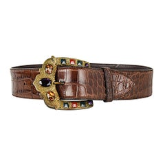 Ralph Lauren Collection Belt Brown Alligator Jeweled Buckle M