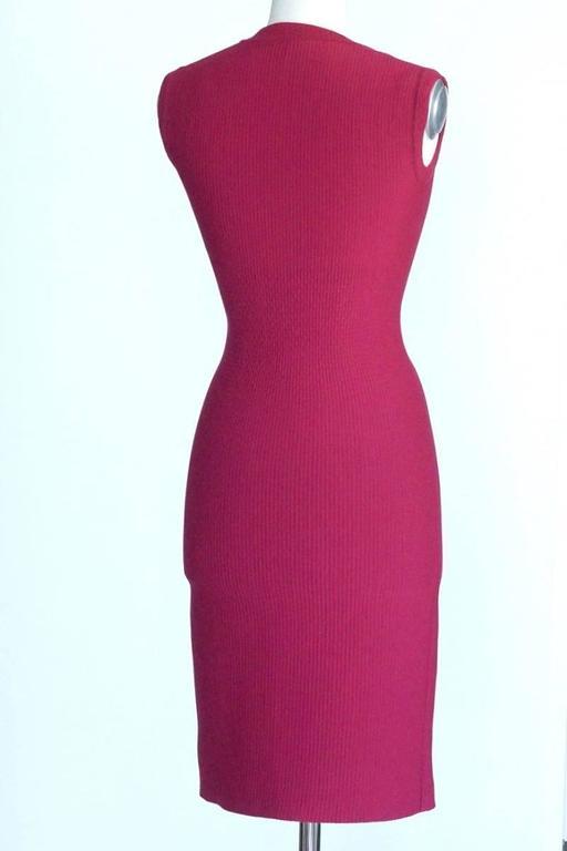 Women's Azzedine Alaia Dress Knit Rich Raspberry Pink Lovely Subtle Detail 38 / 4  NW For Sale