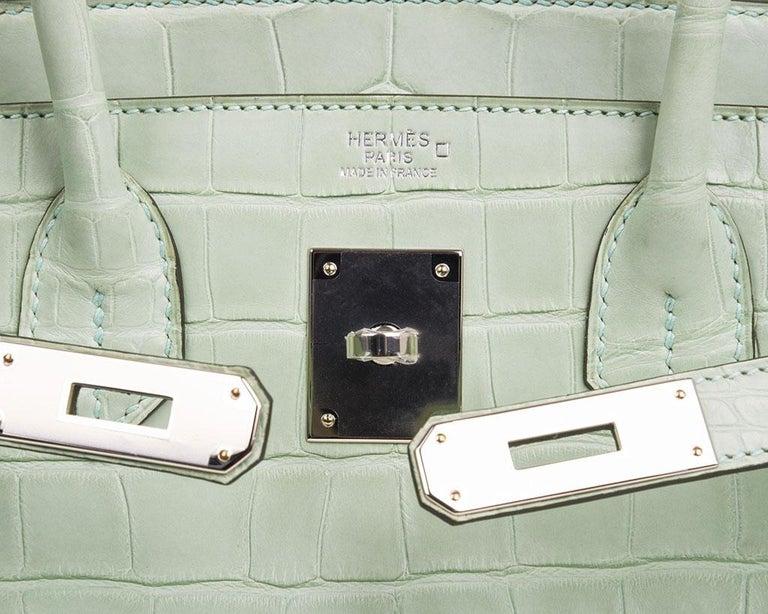 Gray Hermes Birkin 30 Bag Vert D'eau Matte Alligator Palladium Hardware For Sale