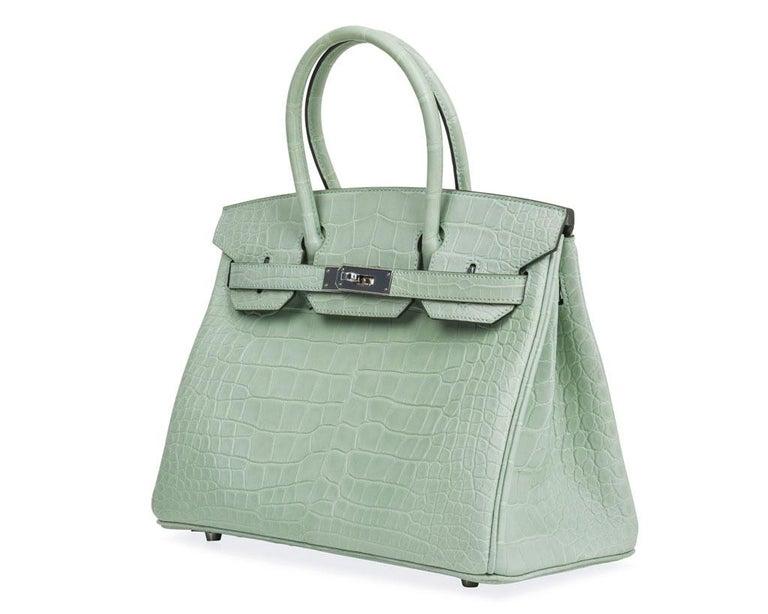 Hermes Birkin 30 Bag Vert D'eau Matte Alligator Palladium Hardware For Sale 2