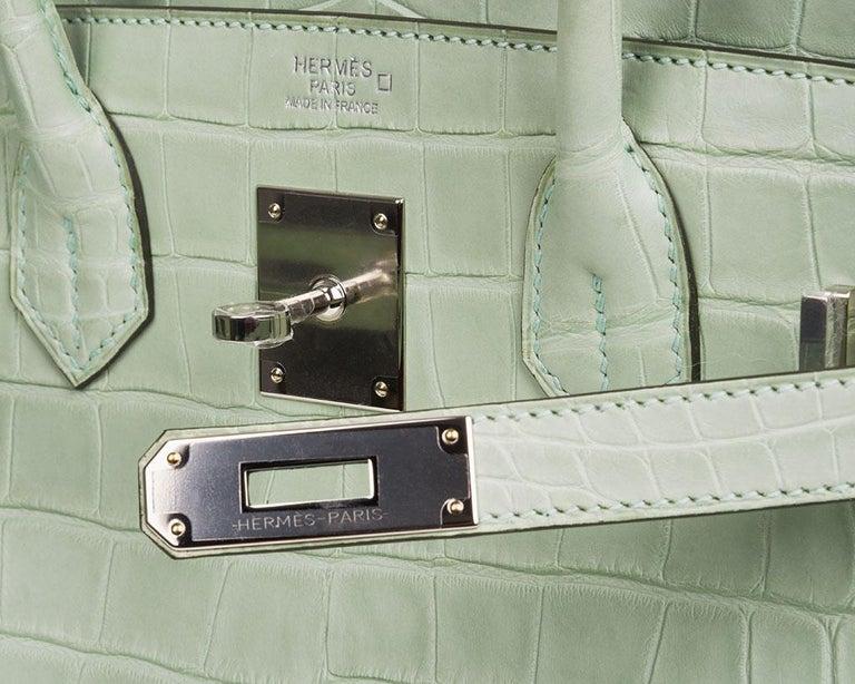 Hermes Birkin 30 Bag Vert D'eau Matte Alligator Palladium Hardware In New Condition For Sale In Miami, FL