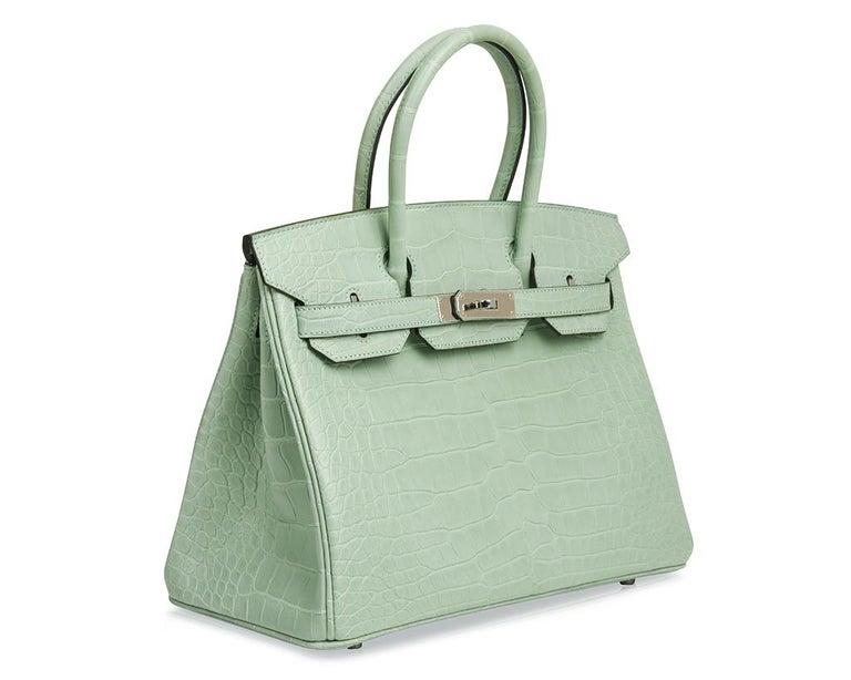 Women's Hermes Birkin 30 Bag Vert D'eau Matte Alligator Palladium Hardware For Sale