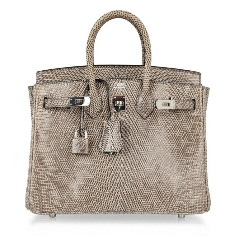 Hermes Birkin 25 Bag Gris Agate Lizard Palladium Hardware VERY Rare For Sale 3