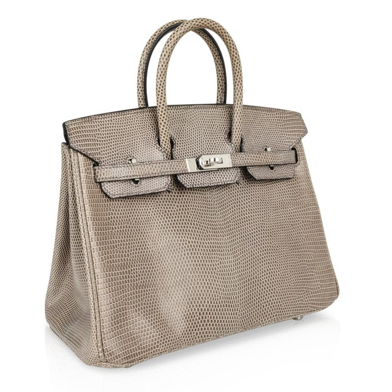 7946d83f1d04 Hermes Birkin 25 Bag Gris Agate Lizard Palladium Hardware VERY Rare In  Excellent Condition For Sale