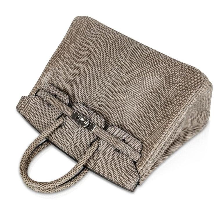 Women's Hermes Birkin 25 Bag Gris Agate Lizard Palladium Hardware VERY Rare For Sale