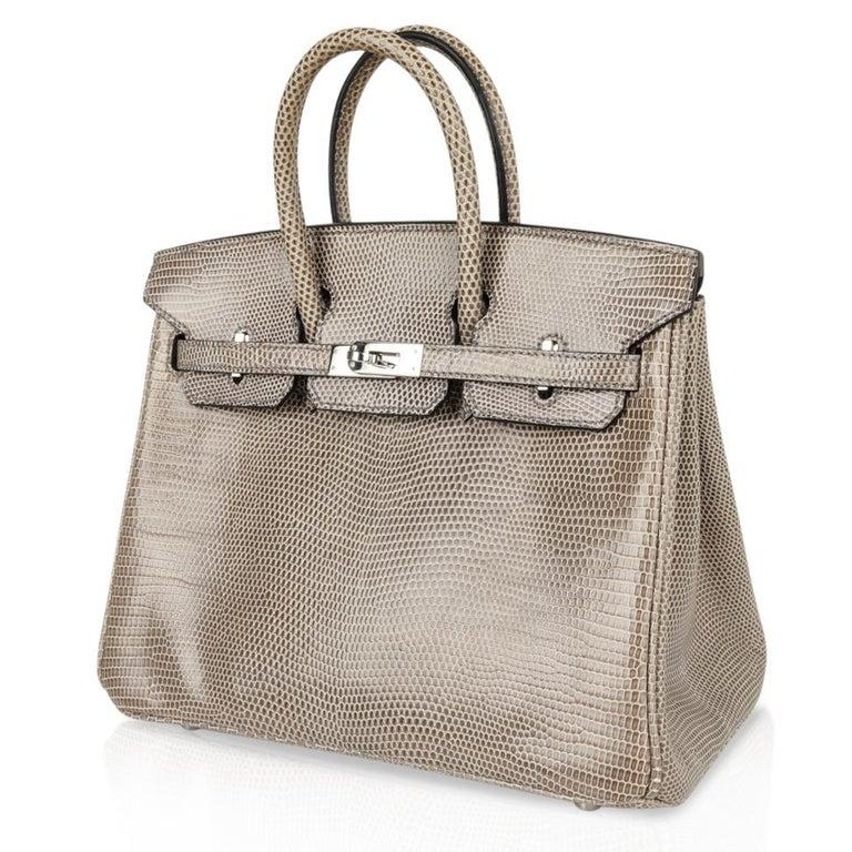 Hermes Birkin 25 Bag Gris Agate Lizard Palladium Hardware VERY Rare For Sale 1