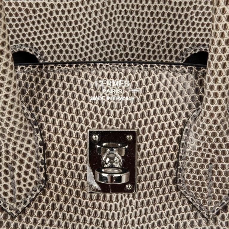Hermes Birkin 25 Bag Gris Agate Lizard Palladium Hardware VERY Rare For Sale 4