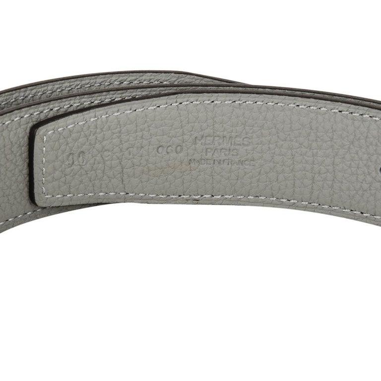 Hermes Belt H Constance 32 mm Blue Obscure / Gris Mouette Brushed Palladium 90 For Sale 2
