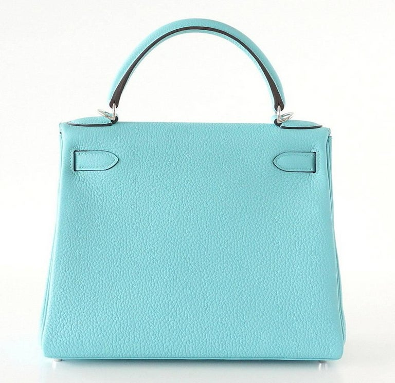 Hermes Kelly 28 Bag Fresh Atoll Togo Palladium In New never worn Condition For Sale In Miami, FL