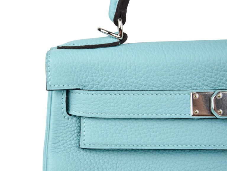 Hermes Kelly 28 Bag Fresh Atoll Togo Palladium For Sale 4