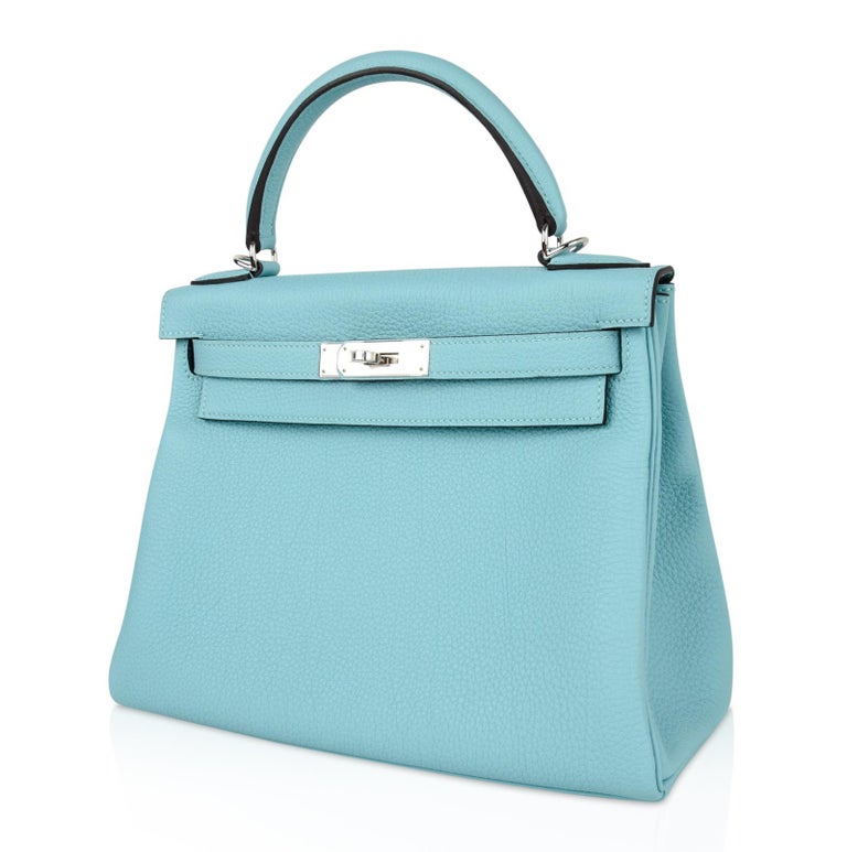 Hermes Kelly 28 Bag Fresh Atoll Togo Palladium For Sale 2