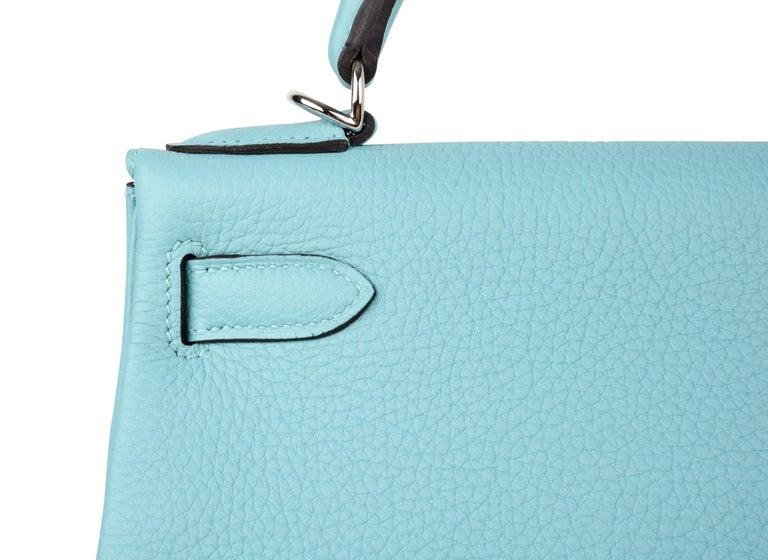 Hermes Kelly 28 Bag Fresh Atoll Togo Palladium For Sale 5