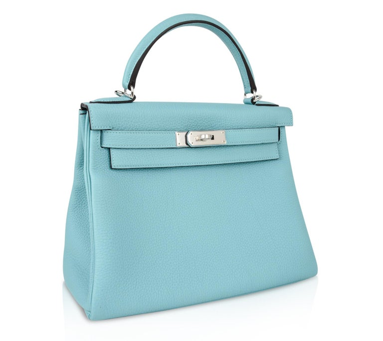Women's Hermes Kelly 28 Bag Fresh Atoll Togo Palladium For Sale