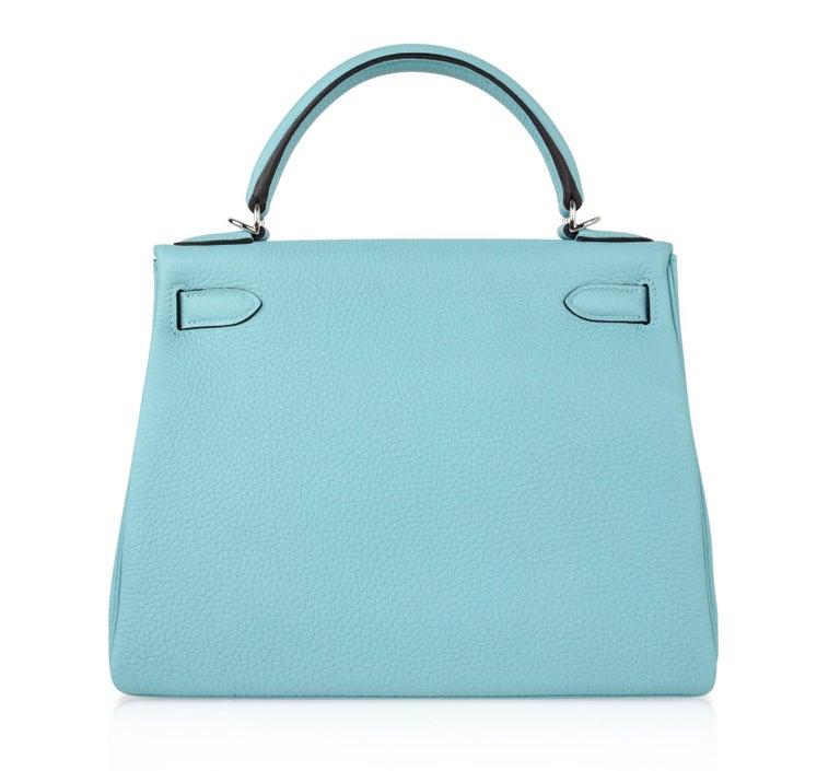 Hermes Kelly 28 Bag Fresh Atoll Togo Palladium For Sale 6