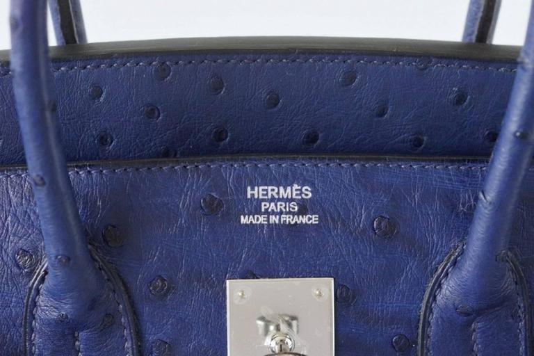 HERMES BIRKIN 35 Bag Rare Jewel Toned BLUE IRIS Ostrich Palladium Hardware 2