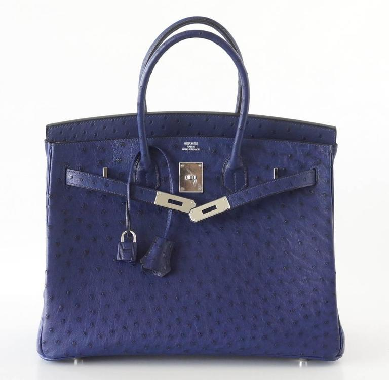 HERMES BIRKIN 35 Bag Rare Jewel Toned BLUE IRIS Ostrich Palladium Hardware 4