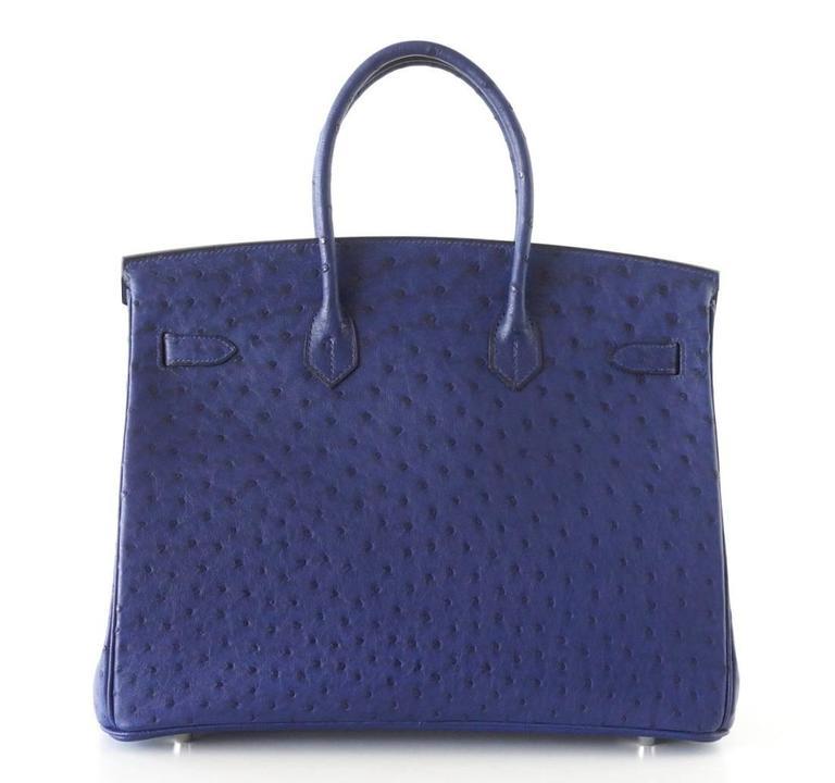 HERMES BIRKIN 35 Bag Rare Jewel Toned BLUE IRIS Ostrich Palladium Hardware 5