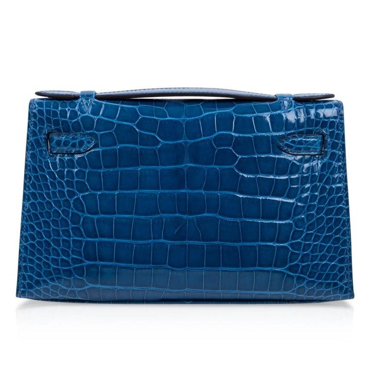 Hermes Kelly Pochette Mykonos Alligator Gold Hardware For Sale 1