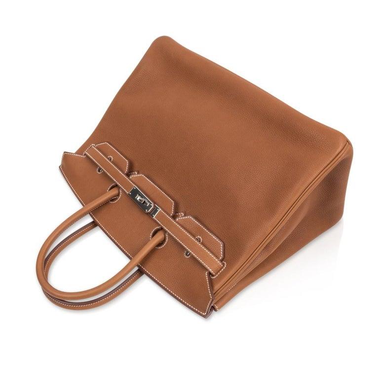 Hermes Birkin 35 Bag Very Rare Barenia Faubourg Palladium Ultimate Neutral  For Sale 1