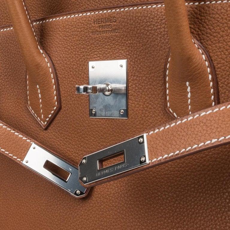Hermes Birkin 35 Bag Very Rare Barenia Faubourg Palladium Ultimate Neutral  In New Condition For Sale In Miami, FL