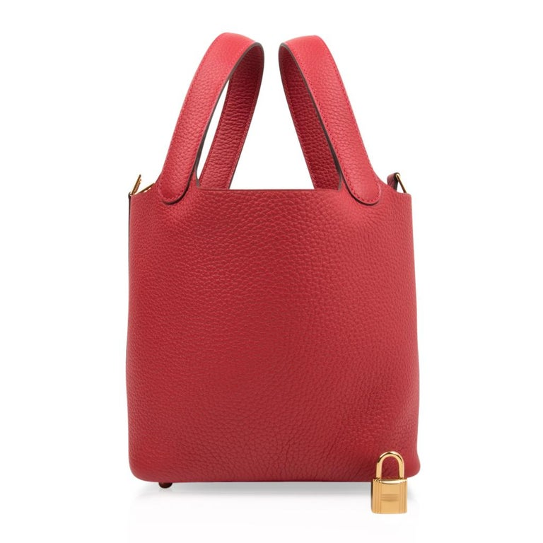 Guaranteed authentic Hermes Picotin Lock 18cm Rouge Casaque bag. Striking lipstick red tote in clemence leather. Rare to find with gold hardware. Comes with lock and keys, sleeper, and signature Hermes box. NEW or NEVER WORN final sale  BAG