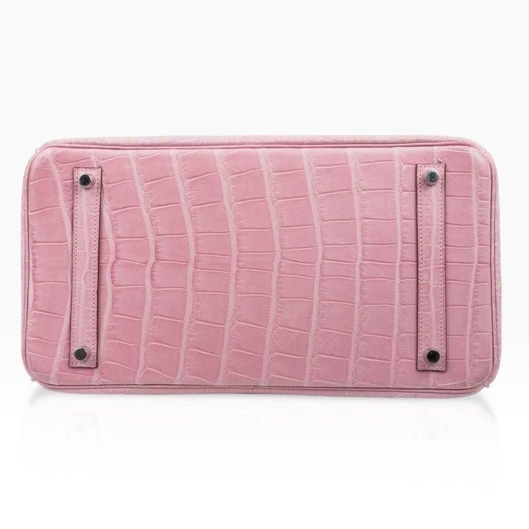 Hermes Birkin 35 Bag 5P Bubblegum Pink Matte Alligator Palladium Rare For Sale 5