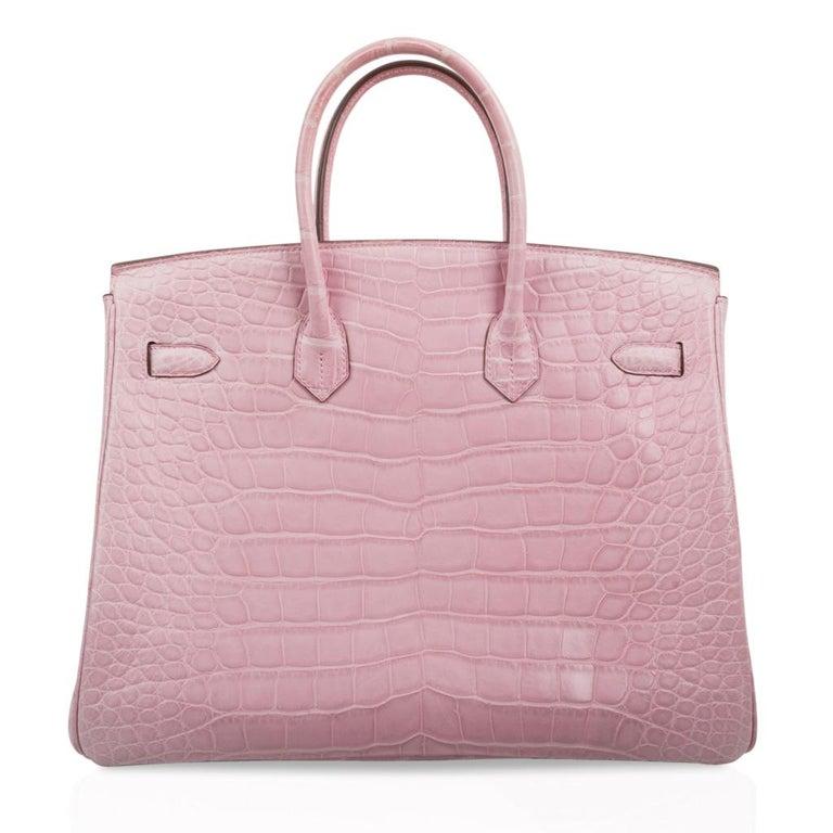 Hermes Birkin 35 Bag 5P Bubblegum Pink Matte Alligator Palladium Rare For Sale 4
