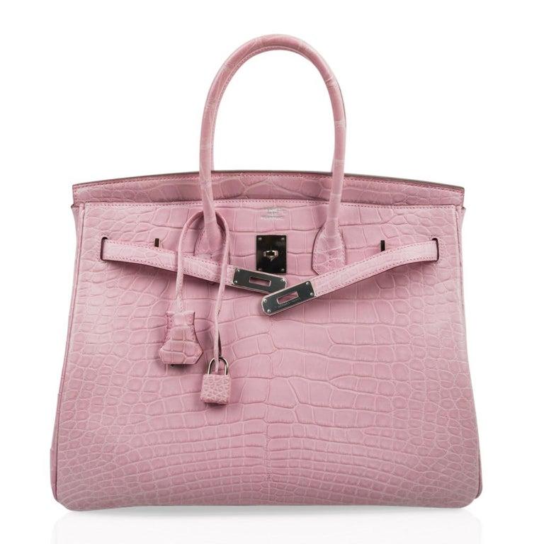 Hermes Birkin 35 Bag 5P Bubblegum Pink Matte Alligator Palladium Rare For Sale 2